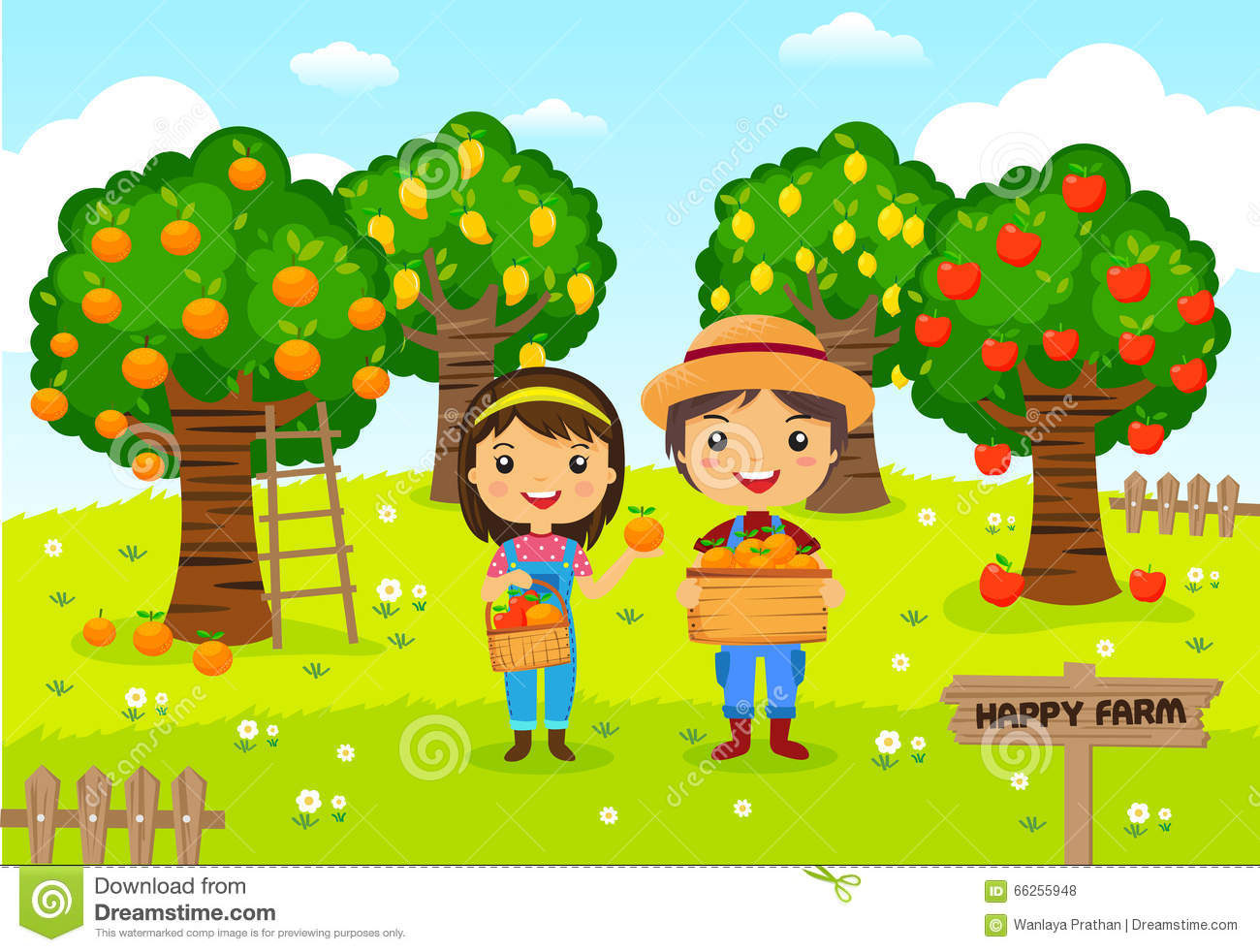 farmers working in garden fruit farm stock vector garden clip art free black and white garden clipart free
