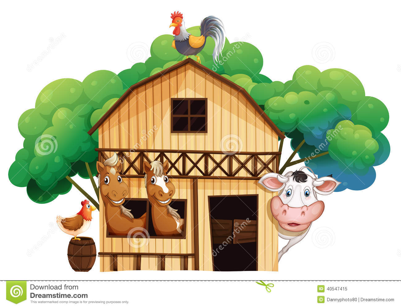 A Barn With Animals At The Rooftop Stock Illustration