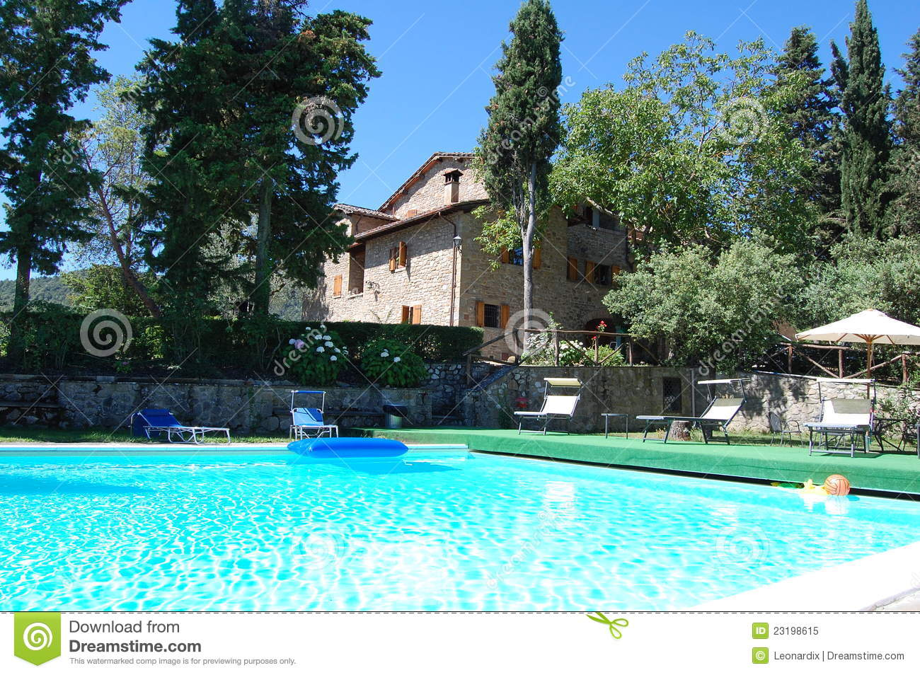 Farmhouse hotel with swimming pool royalty free stock for Farmhouse with swimming pool