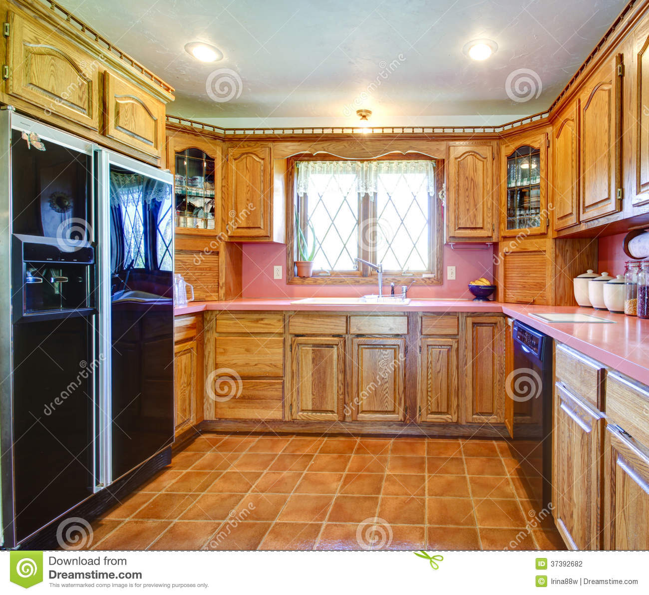 Orange Kitchen Room With White Cabinets Stock Image: Farmhouse Kitchen Room With Wood Cabinets And Pink