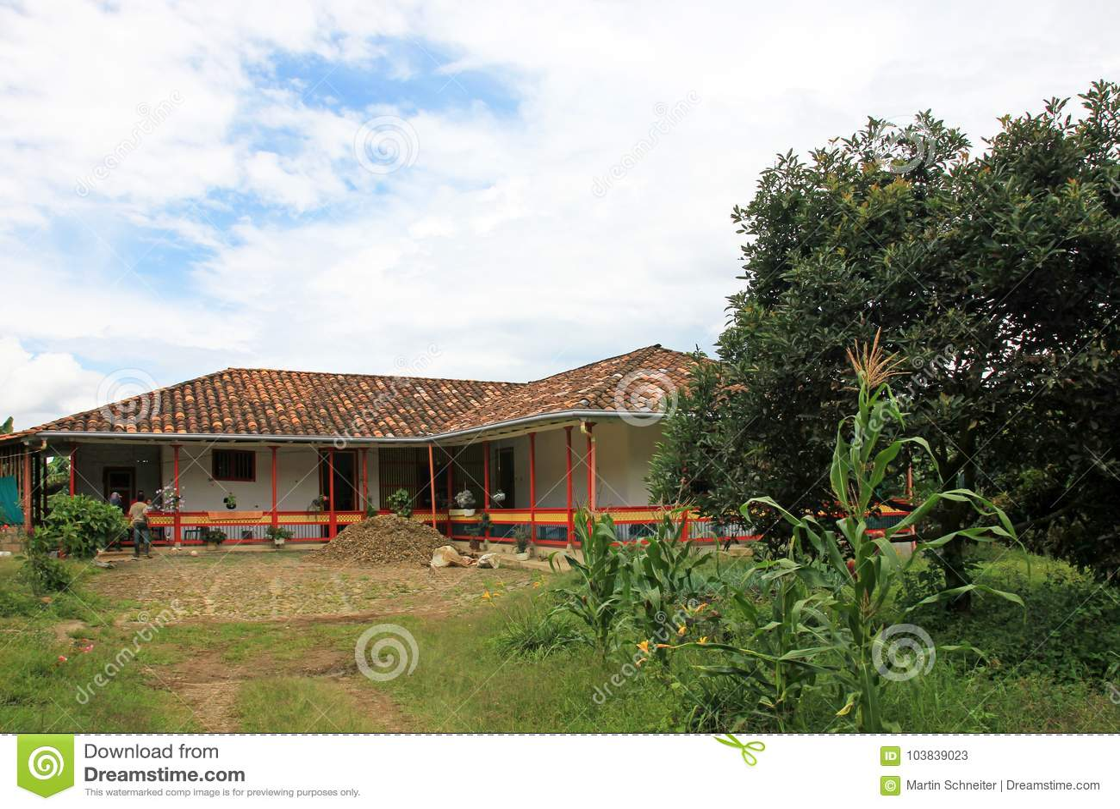 Farmhouse Surrounded By Coffee Plants Near El Jardin Antioquia