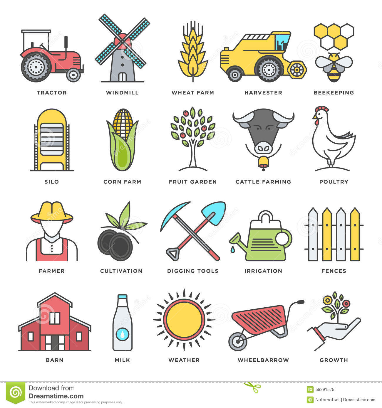 Farming And Agriculture Flat Line Icon Set Stock Vector ...