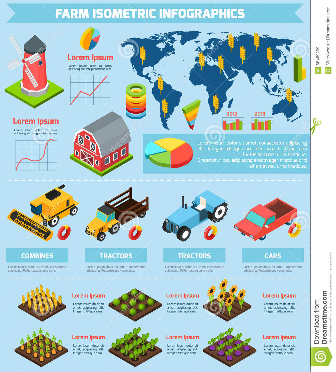 Farming Facilities And Equipment Infographic Stock Vector