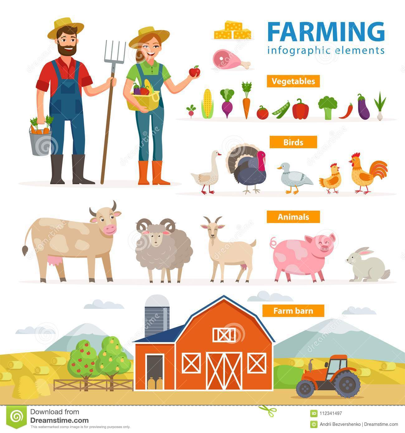 Farming Infographic Elements Two Farmers Man And Woman Farm Animals Equipment Barn Tractor Landscape Large Set Stock Vector Illustration Of Chicken Crops 112341497
