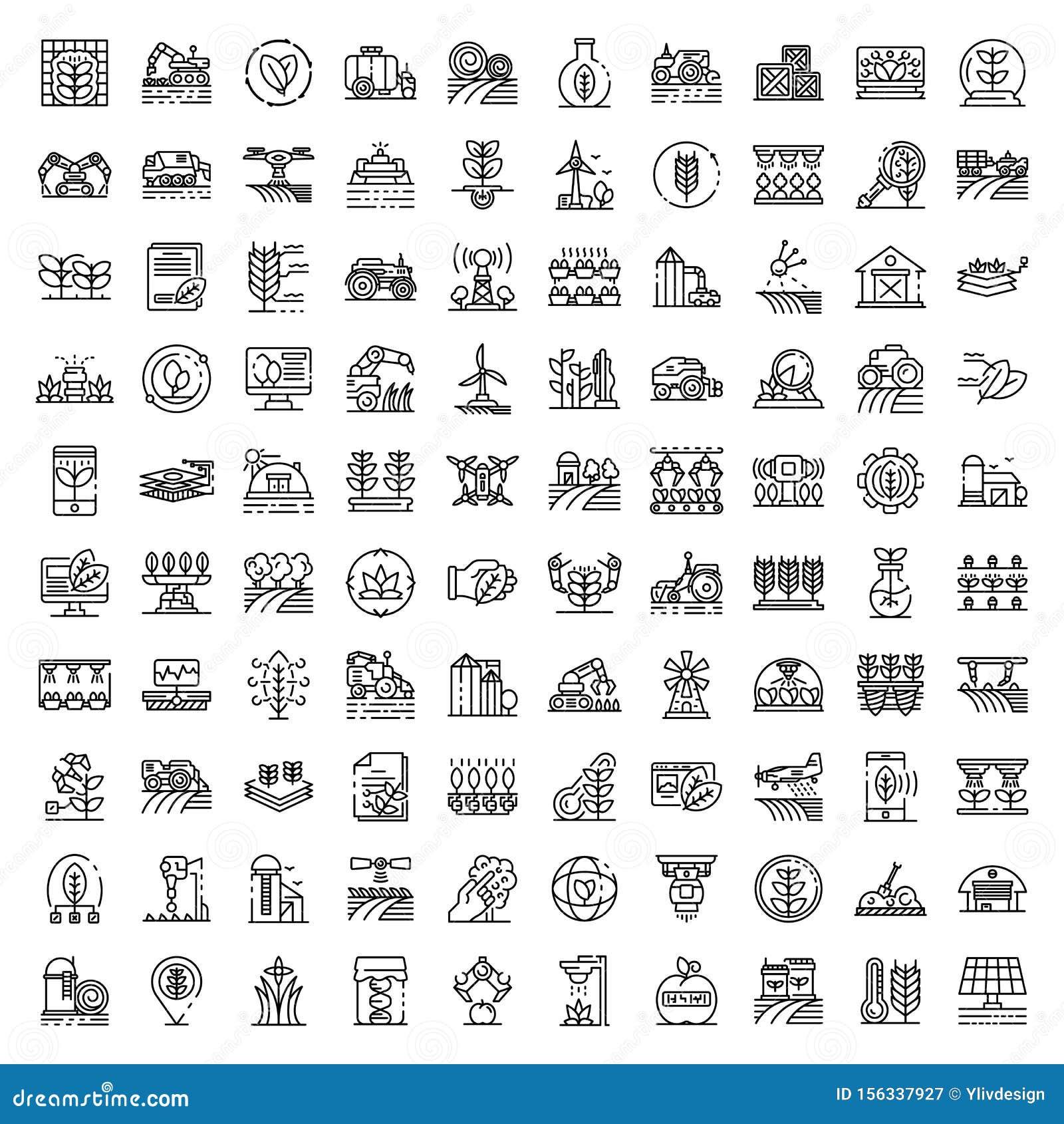 Farming robot icons set, outline style