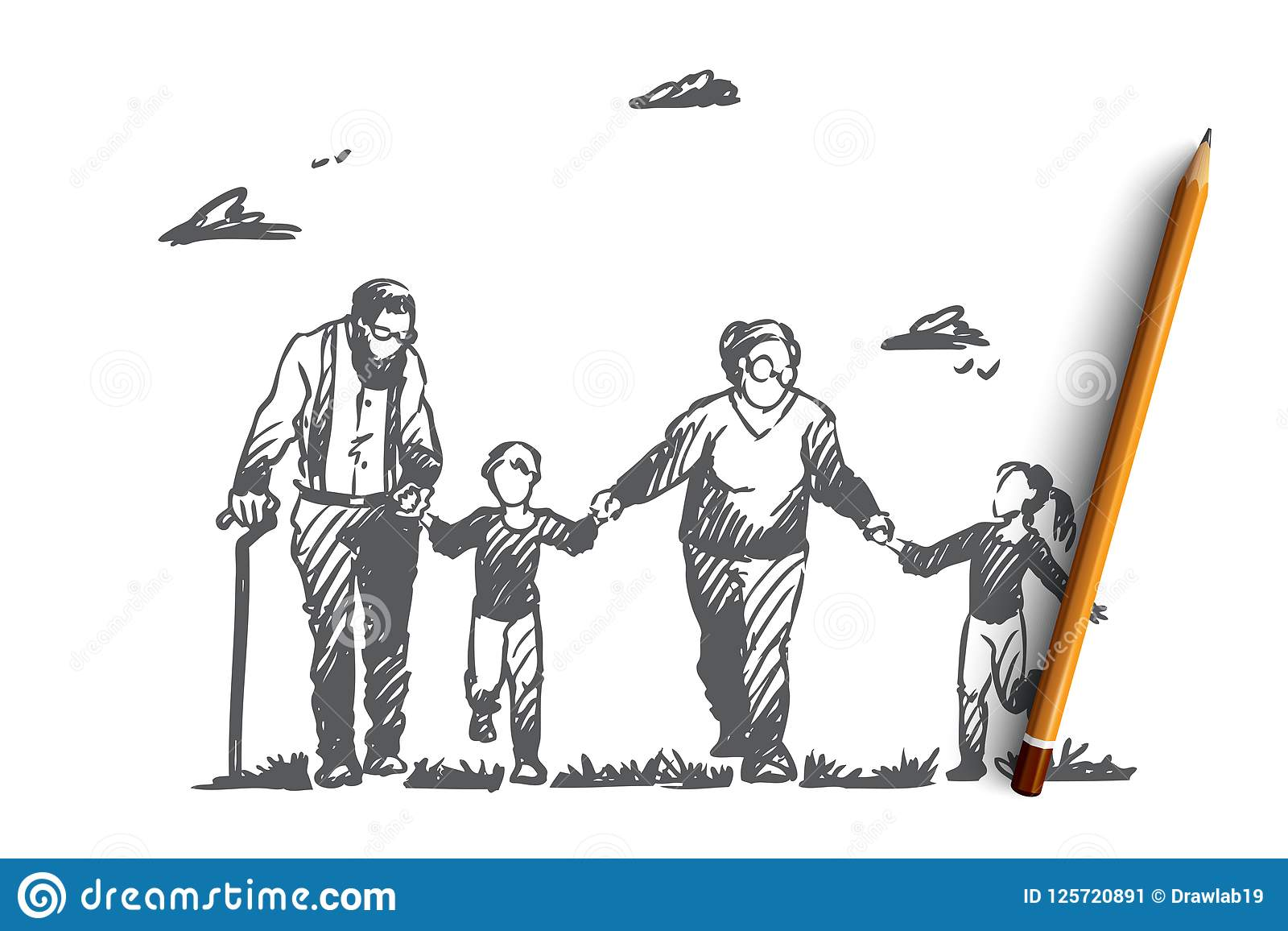 Farmor farfar, barnbarn, familj, utvecklingsbegrepp Hand dragen isolerad vektor