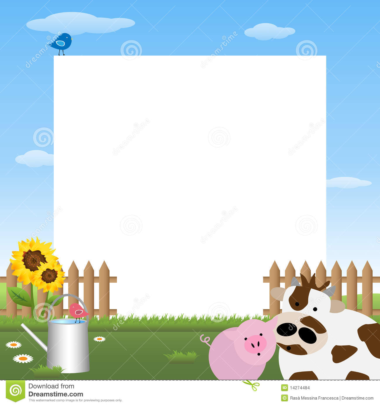 Illustration of a cute farmyard frame.EPS file available.