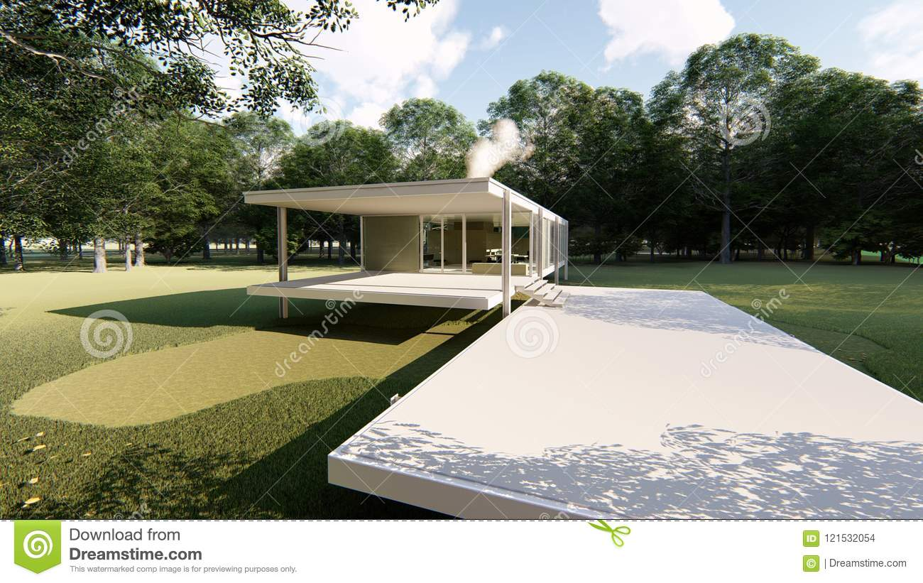 Farnsworth House Ludwig Mies Van Der Rohe Stock Photo Image Of
