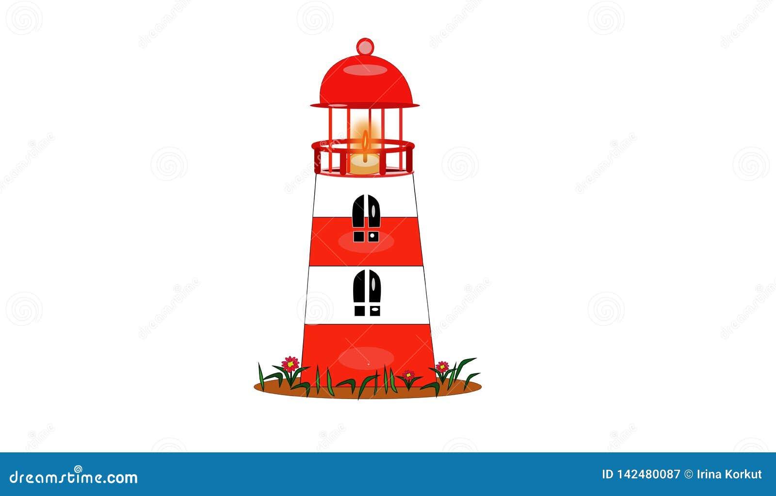 Faro Bianco-rosso isolato con la luce del fuoco per le navi
