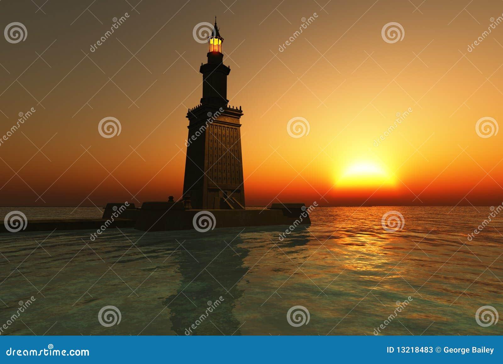 Faro de Pharos en la puesta del sol