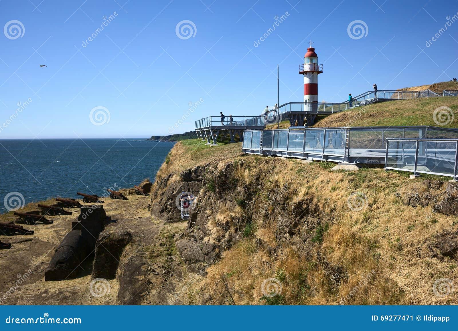 Faro del fuerte en niebla chile foto editorial imagen - Bater roca precios ...