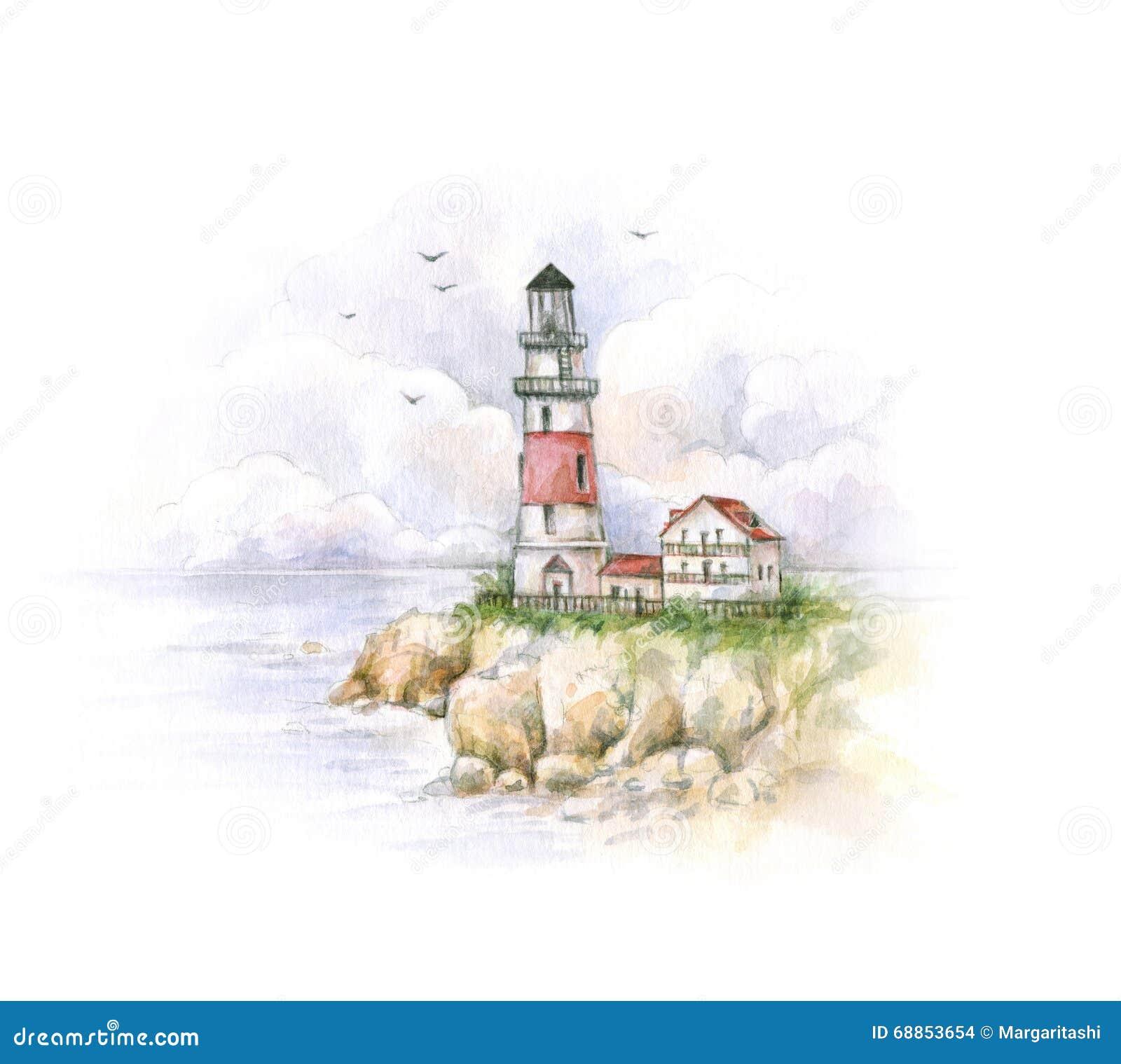 Faro dell 39 acquerello disegno di un paesaggio del mare for Disegni di paesaggi di mare