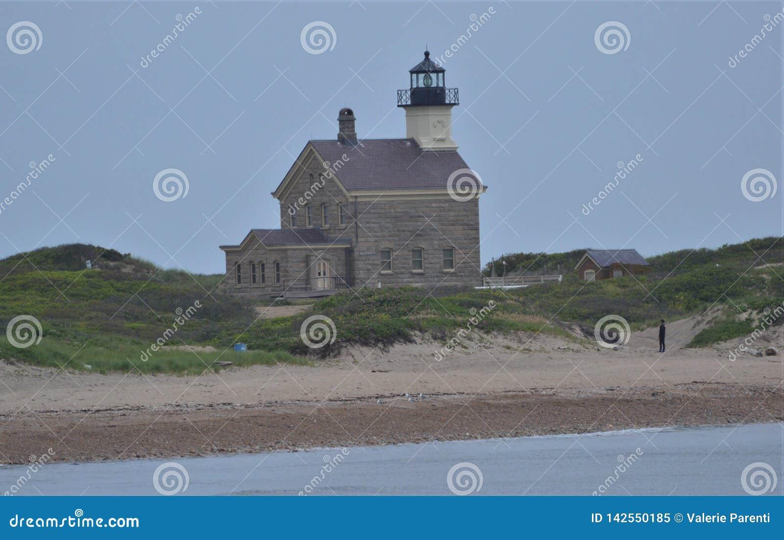 Faro en estado del océano del Block Island