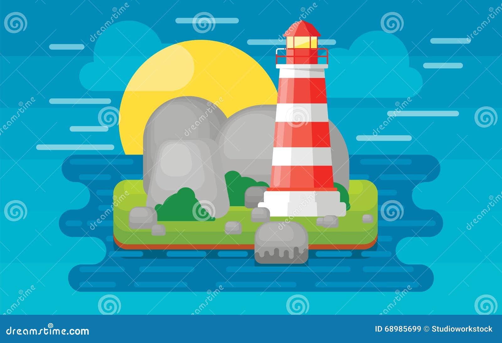 Faro en la isla, ejemplo del vector