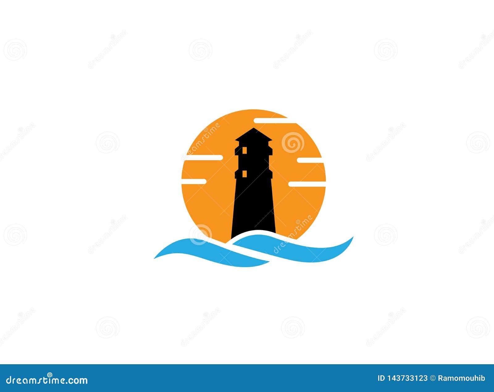 Faro en la isla en el medio del mar con un sol grande en el fondo para el ejemplo del diseño del logotipo un símbolo de la puesta