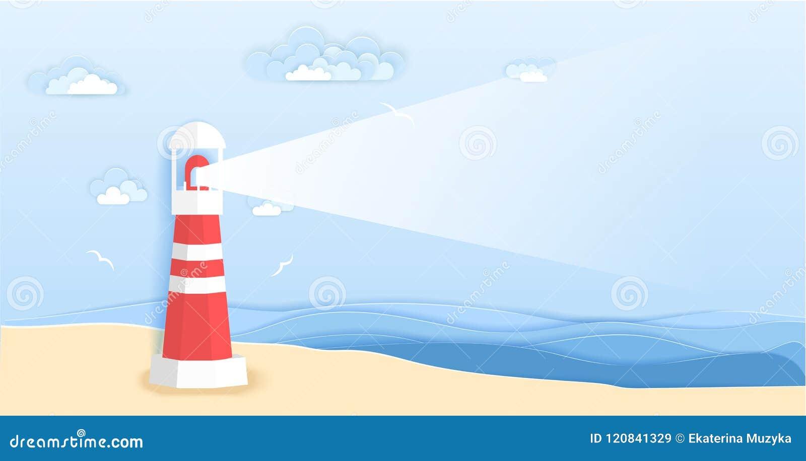 Faro sulla spiaggia del mare nello stile di carta di arte Progettazione del taglio della carta di origami dell illustrazione di v