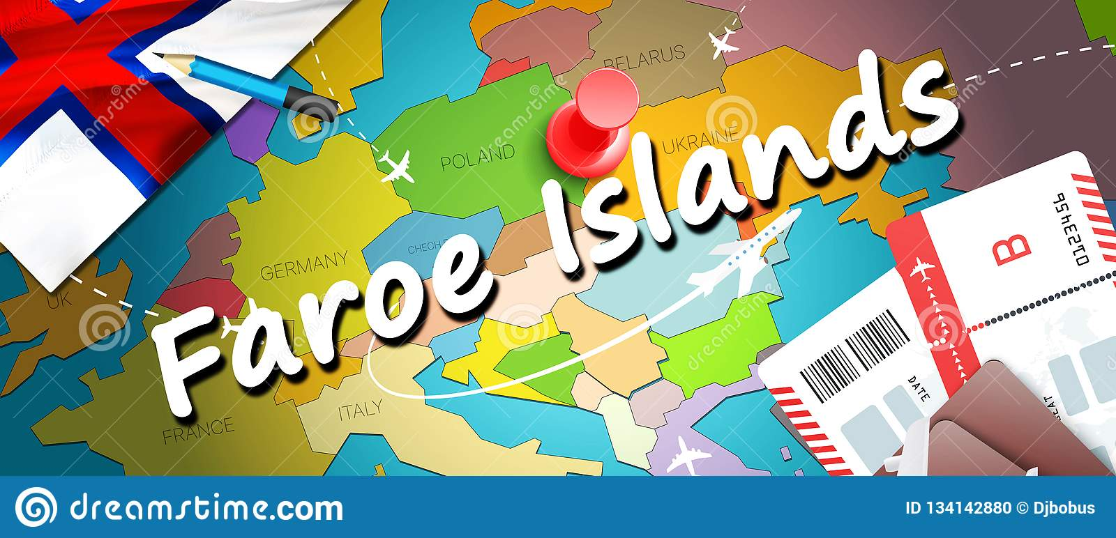 Faroe Islands Travel Concept Map Background With Planes ...