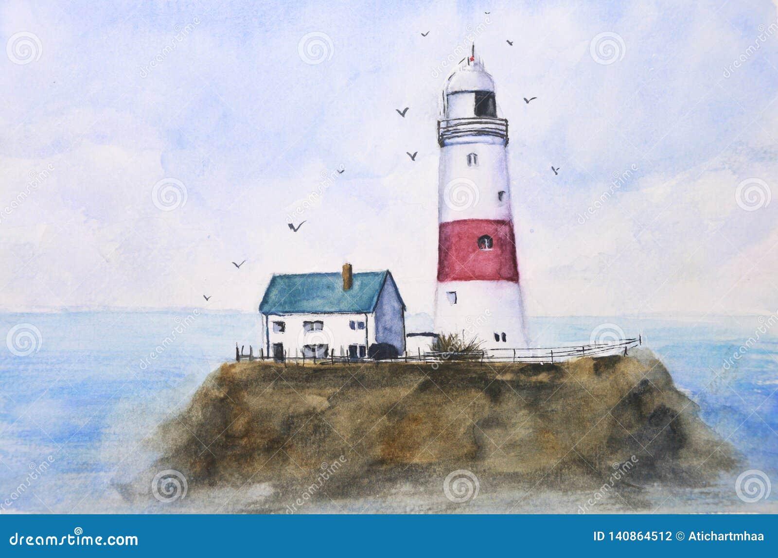 Farol azul do mar da paisagem da pintura da aquarela na ilha com os pássaros que voam no céu