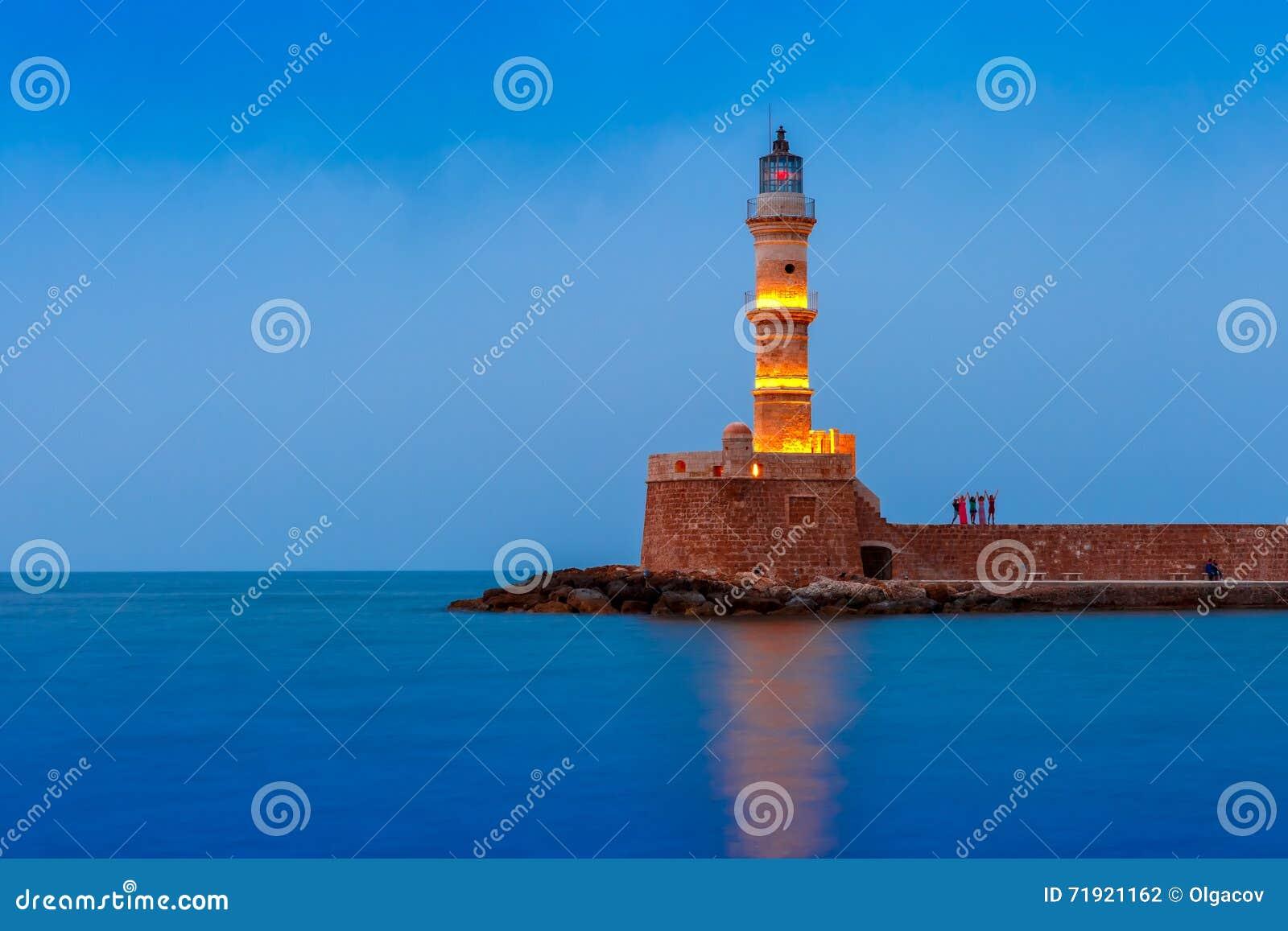 Farol da noite no porto velho, Chania, Creta