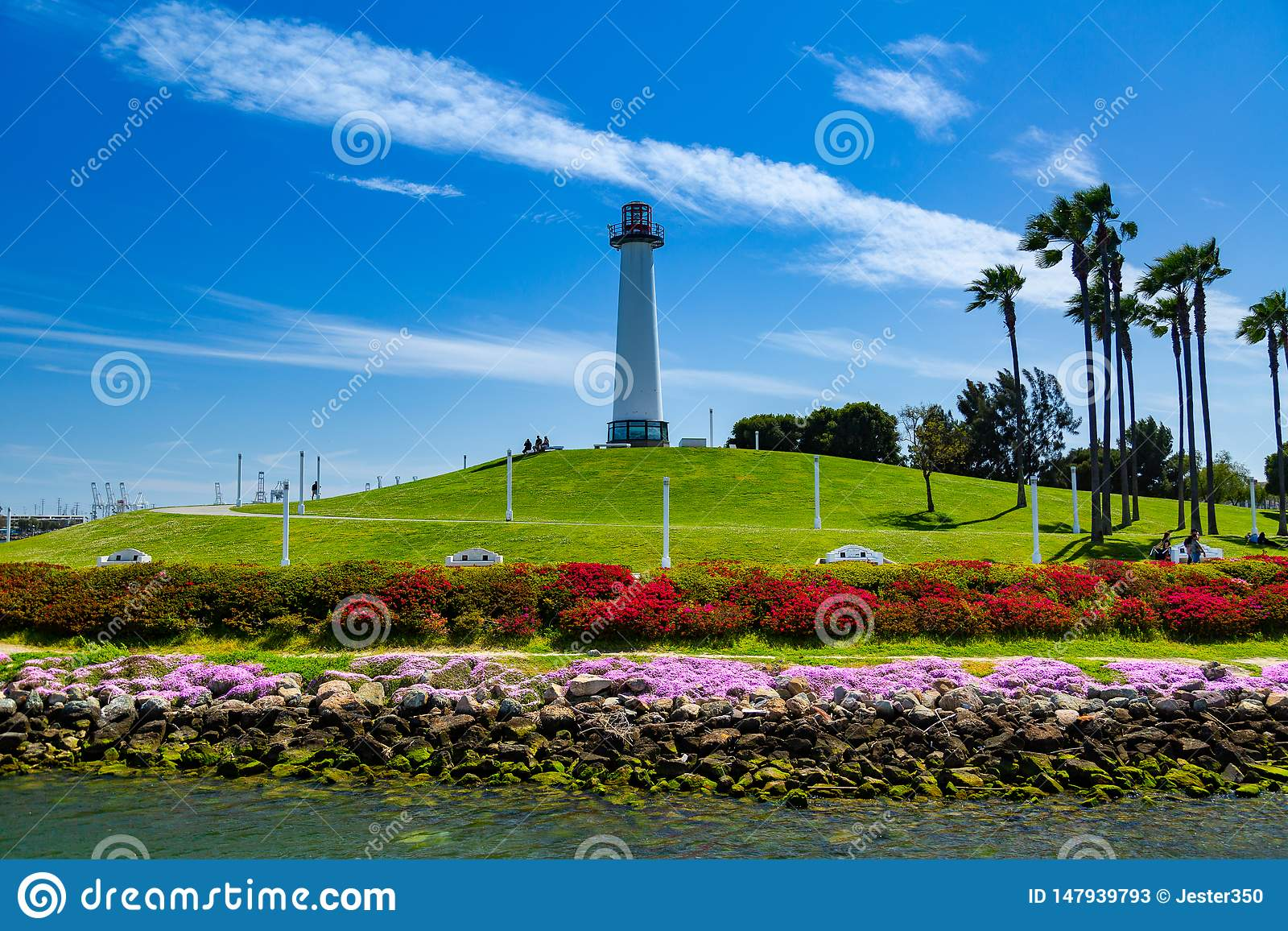 Farol do leão no porto de Long Beach