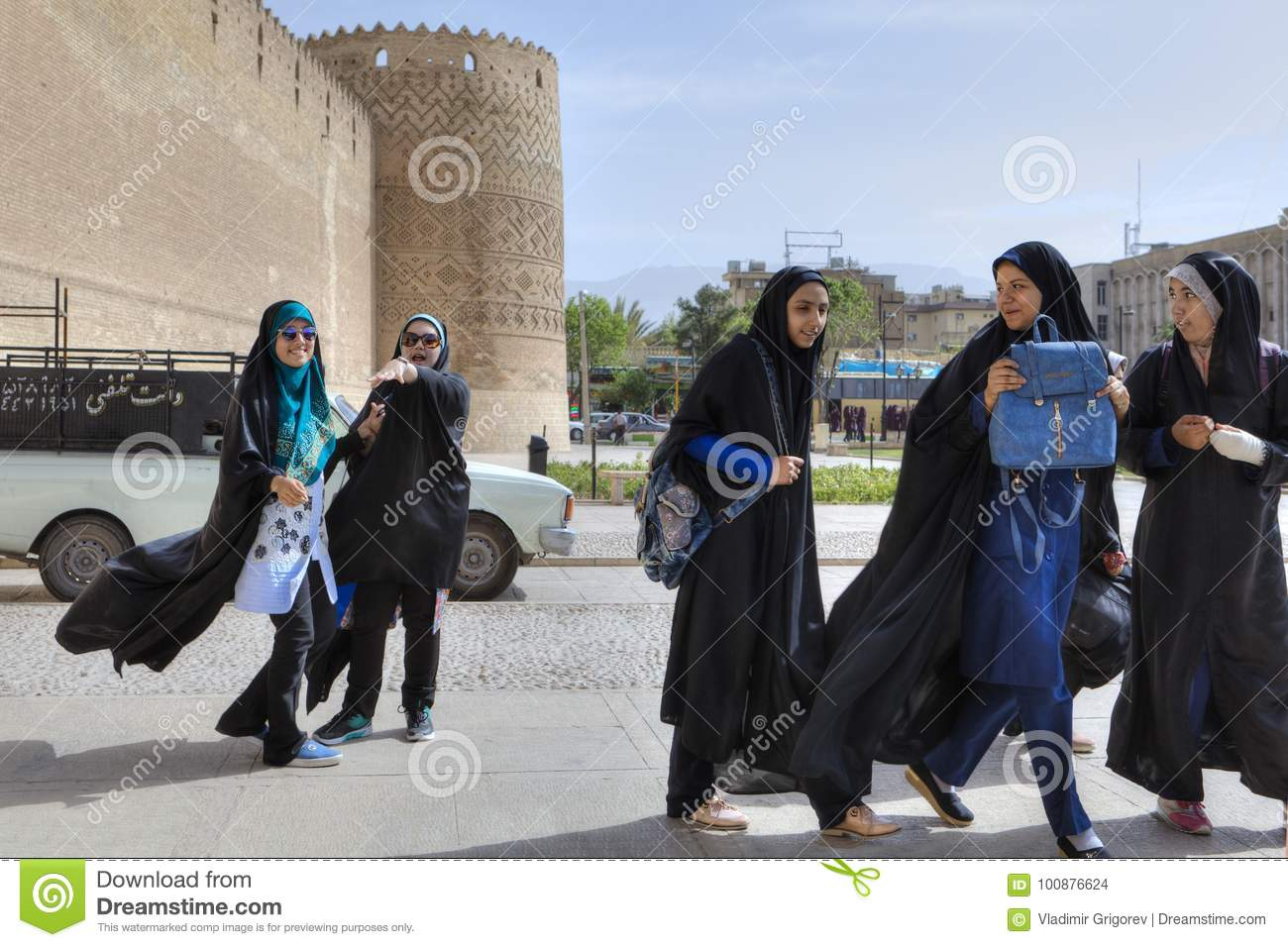 Iranian schoolgirls in front of Karim Khan Citadel, downtown Shiraz.