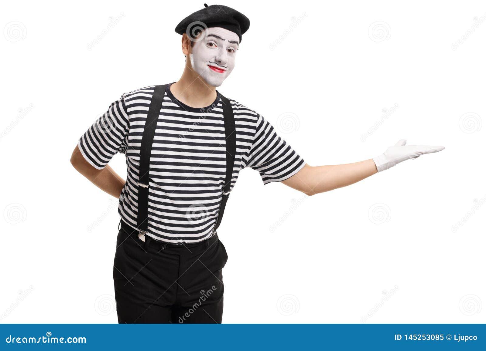 Fars som gör en gest välkomnande med hans hand