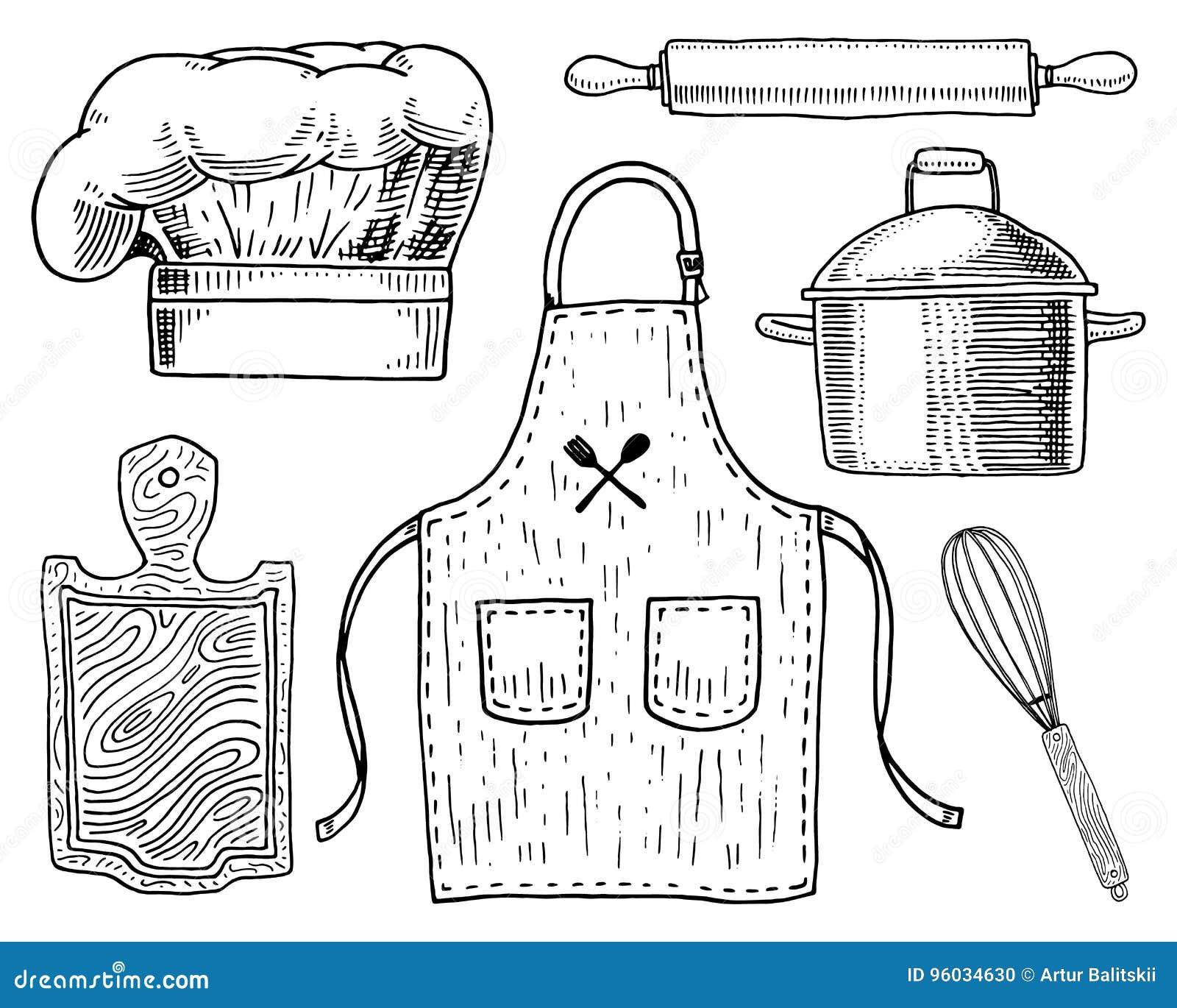 Fartuch, pinaphora, kapiszon, toczna szpilka, rondel lub deska, koronowa, drewniana, Szefa kuchni i kuchni naczynia, gotuje mater
