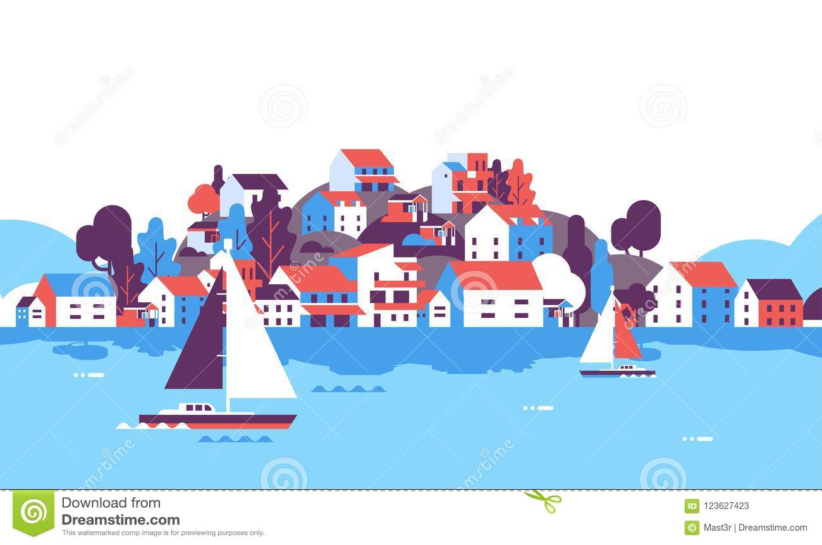 Fartyg över den horisontallägenheten för begrepp för semester för sommar för kust för yacht för hav för bakgrund för hotell för h