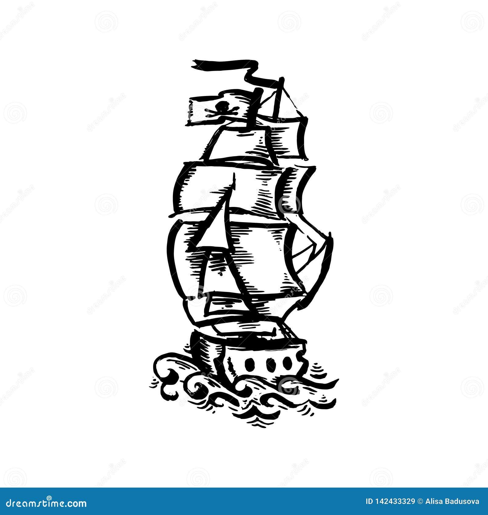 Fartyg för tatuering för gammal skola för färg för vektorhand utdraget svart på vit bakgrund