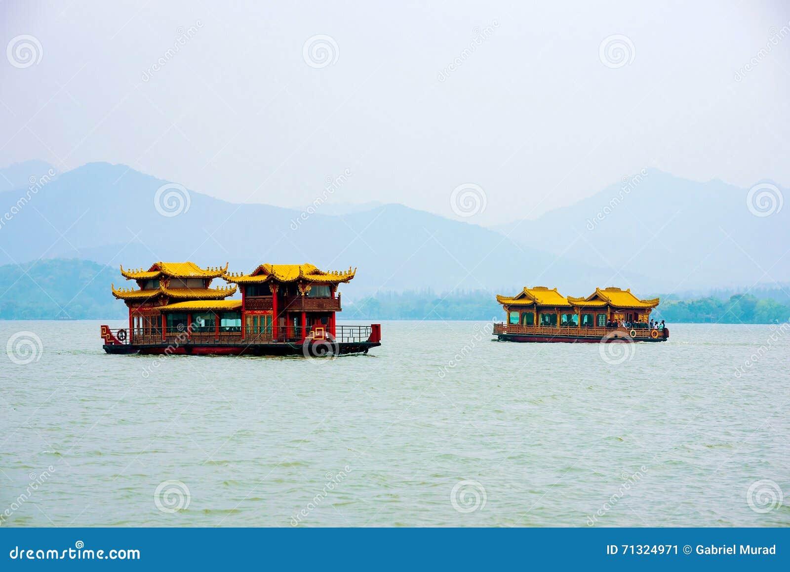 Fartyg på Hangzhou den västra sjön