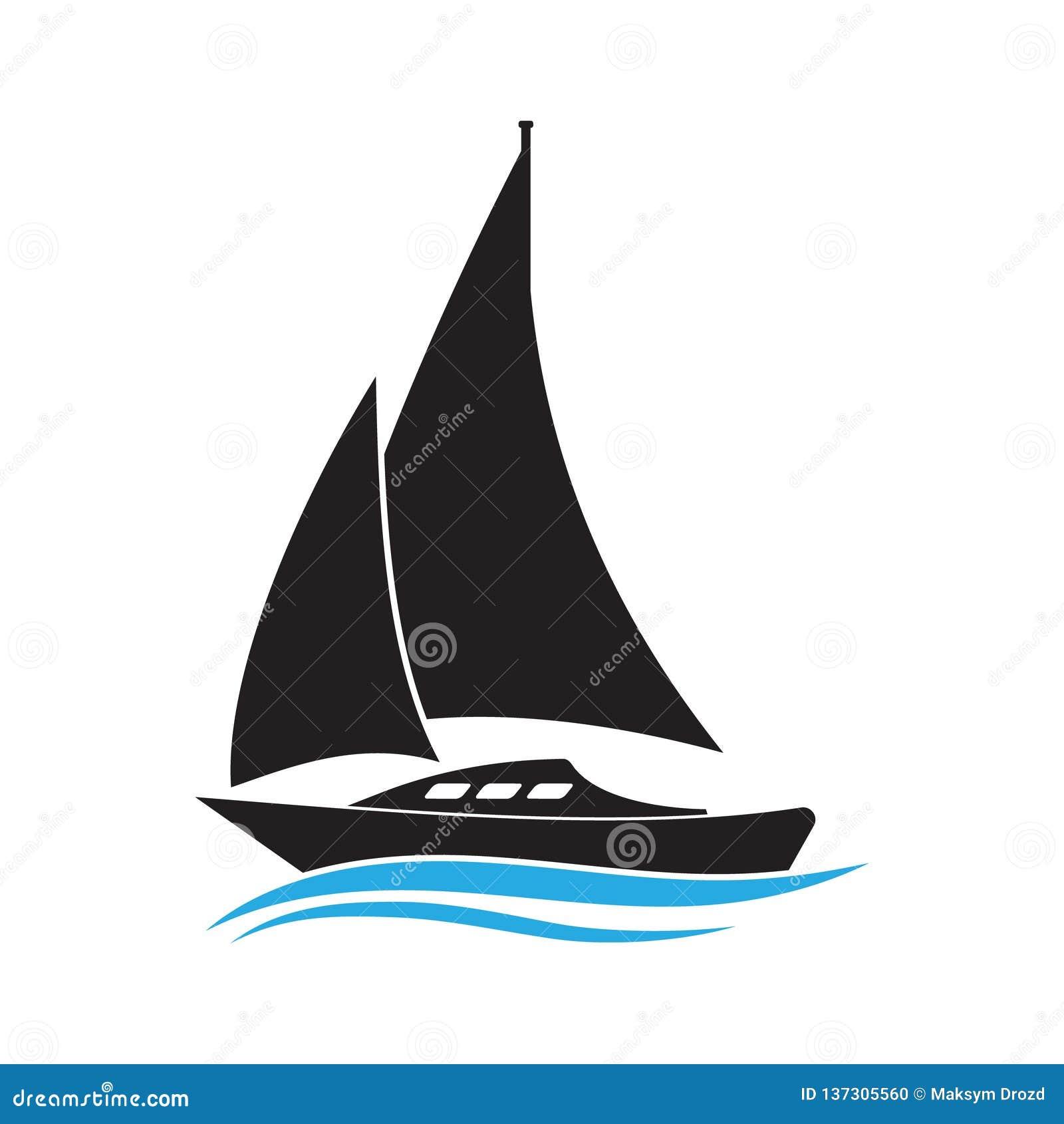 Fartyg på symbol för vågvektor Segelbåtillustration Enkel isolerad pictogram för yacht