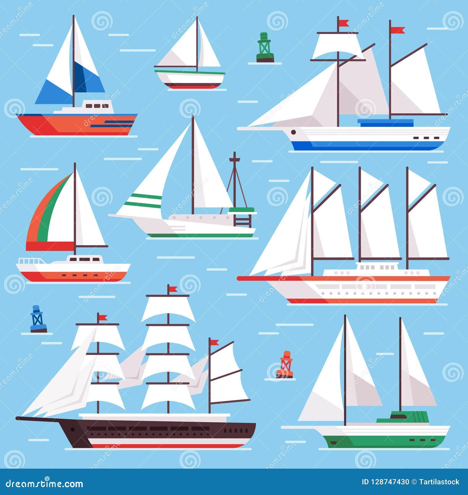 Fartyget seglar Trans.segelbåt för vattensegelbåtlopp Plan lyxig uppsättning för seglingvektorillustration