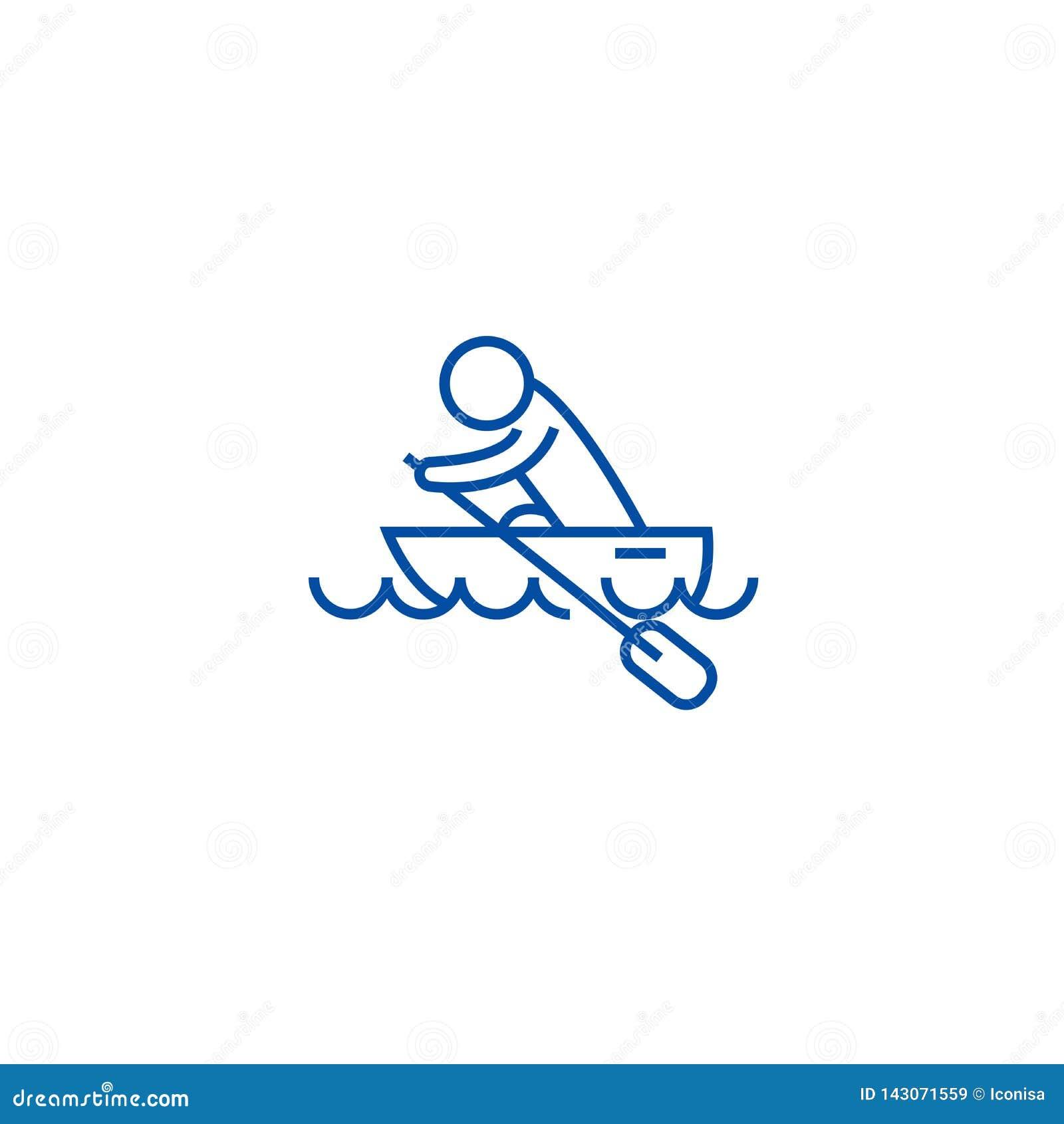 Fartyglopp, kajaker som ror lopplinjen symbolsbegrepp Fartyglopp, kajaker som ror plant vektorsymbol för lopp, tecken, översikt