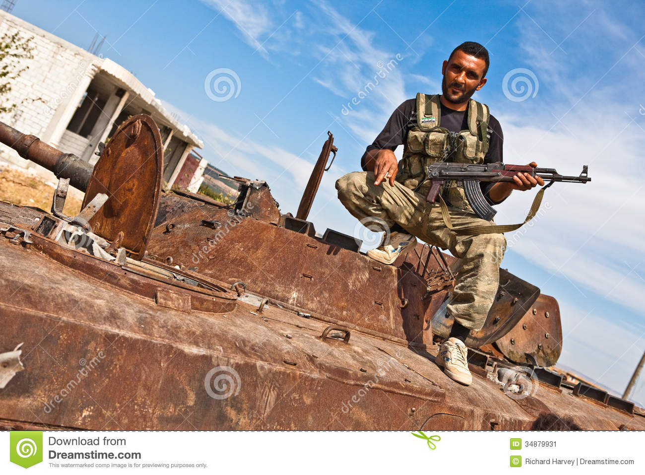 0f663b79 FAS Fighter Posing On Tank, Azaz, Syria. Editorial Photo - Image of ...