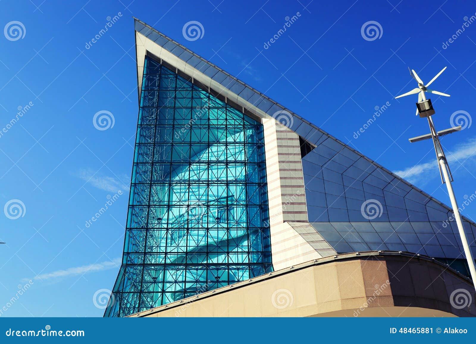 Fasada nowożytny budynek Xinghai filharmonia w GuangZhou mieście, Porcelanowy Azja