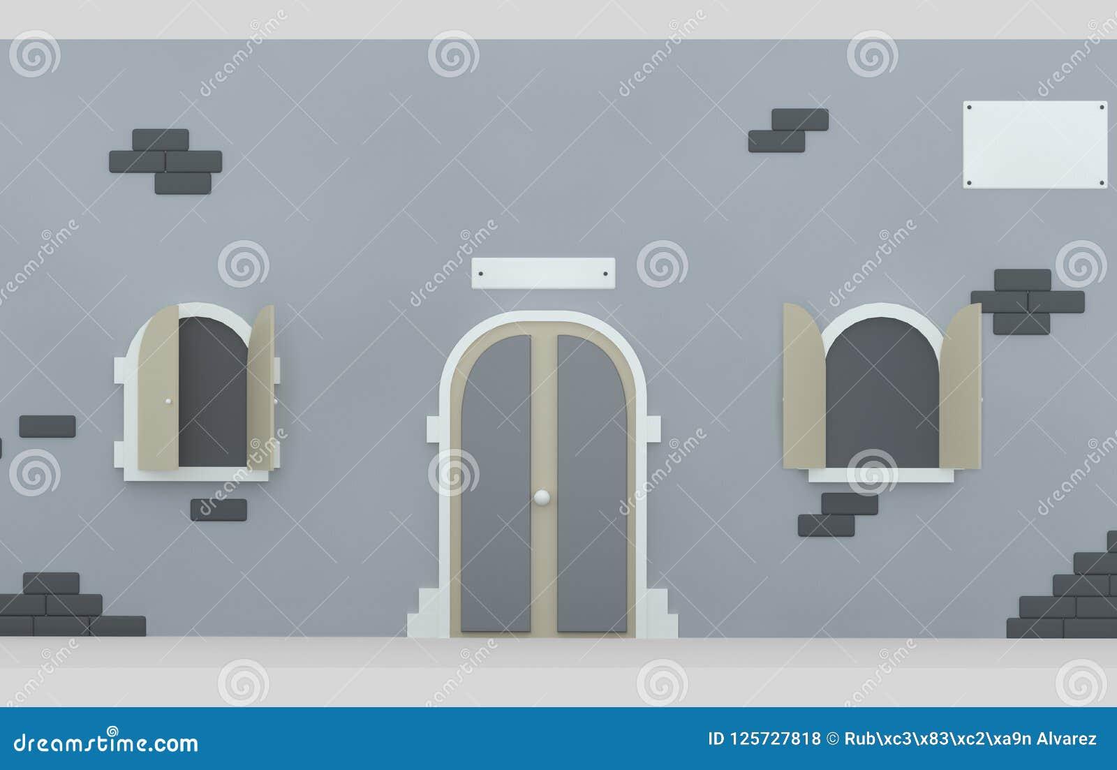 Fasadowi drzwiowi i rozpieczętowani okno 3d illustratiion