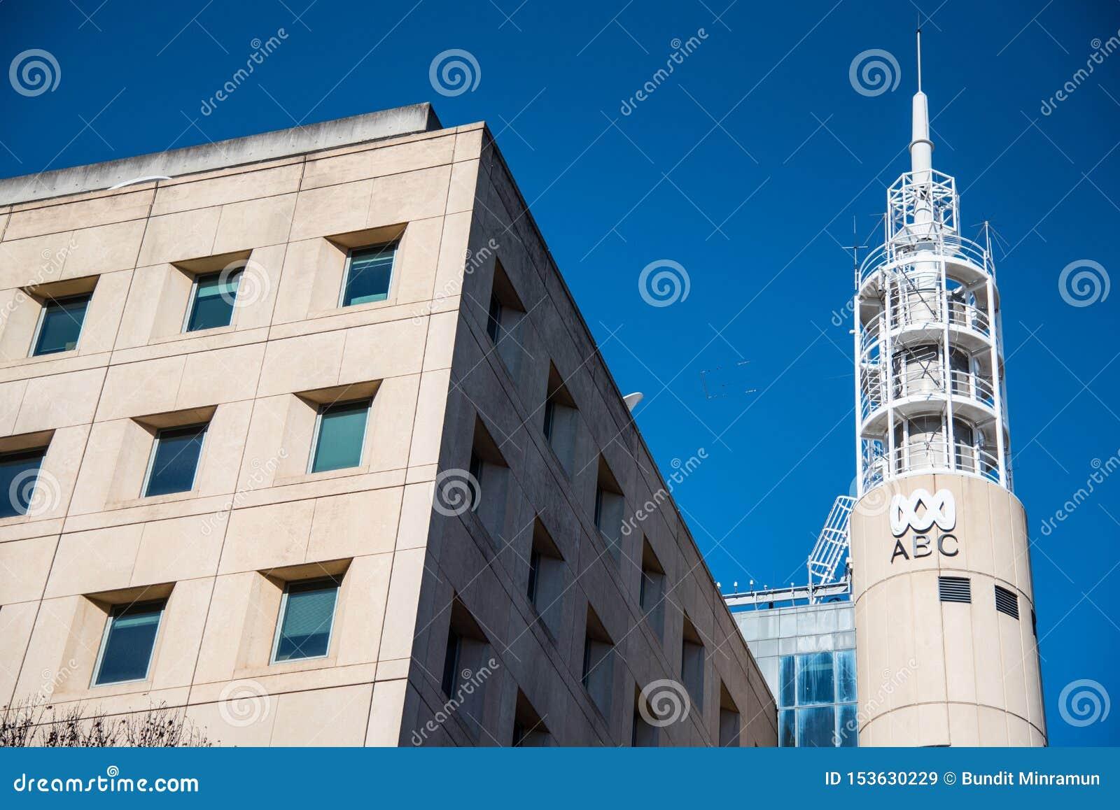 Fasadowy budynek ABC News dla transmisja kanałów od Australian Broadcasting Corporation