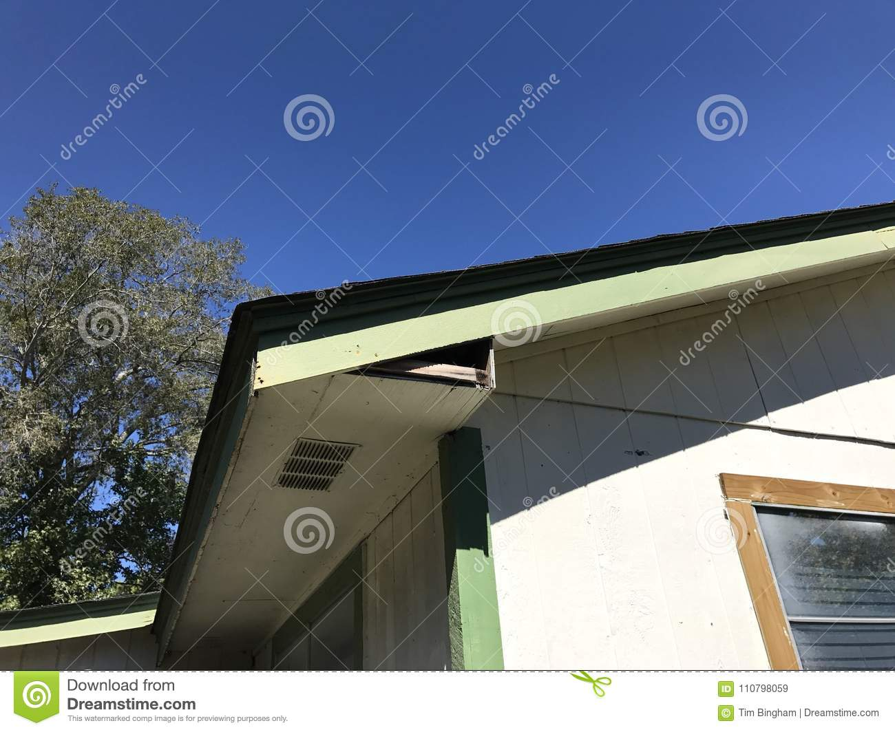 Fascia in need of repair stock image  Image of construction - 110798059