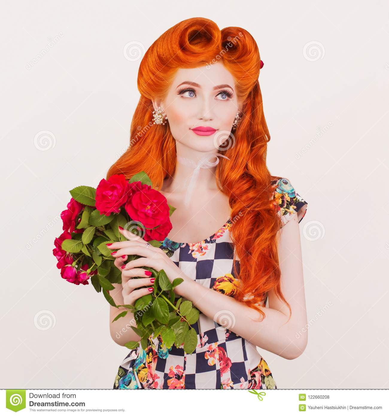 Fascinating smile on face. Valentines day concept. Beautiful stylish attire. Happy redhead model with hairstyle with bouquet