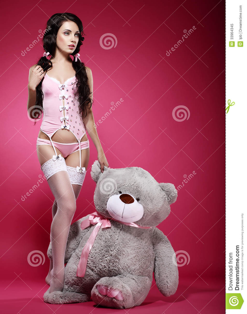 Some Fascinating Teenage Girl Bedroom Ideas: Fascinating Young Woman In Pink Lingerie With Her Fondling