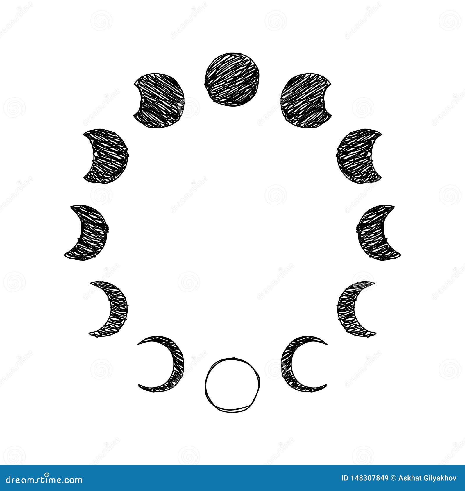 Fase del sistema del icono del garabato de la luna, fase lunar Vector