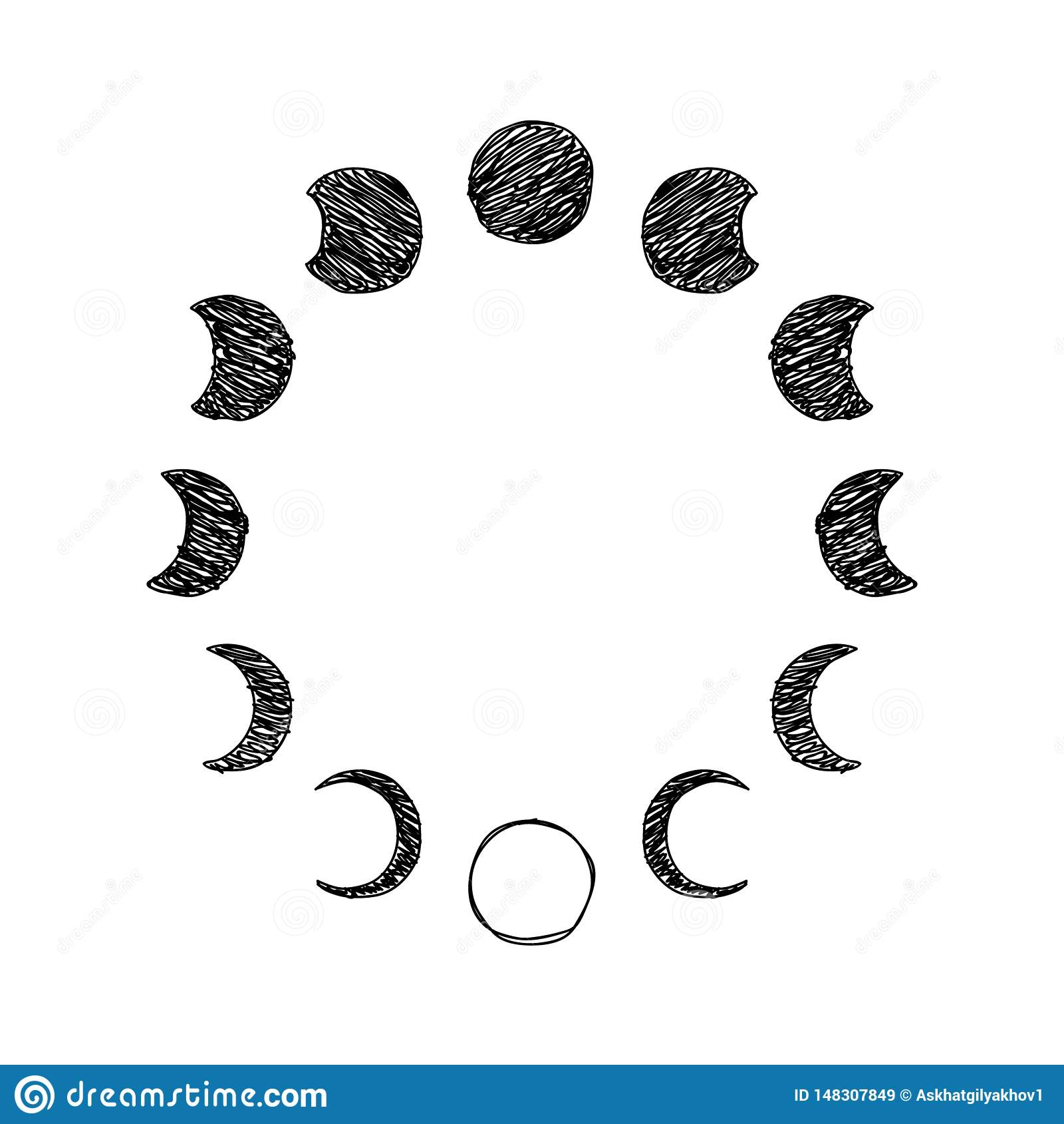 Fase dell insieme dell icona dello scarabocchio della luna, fase lunare Vettore