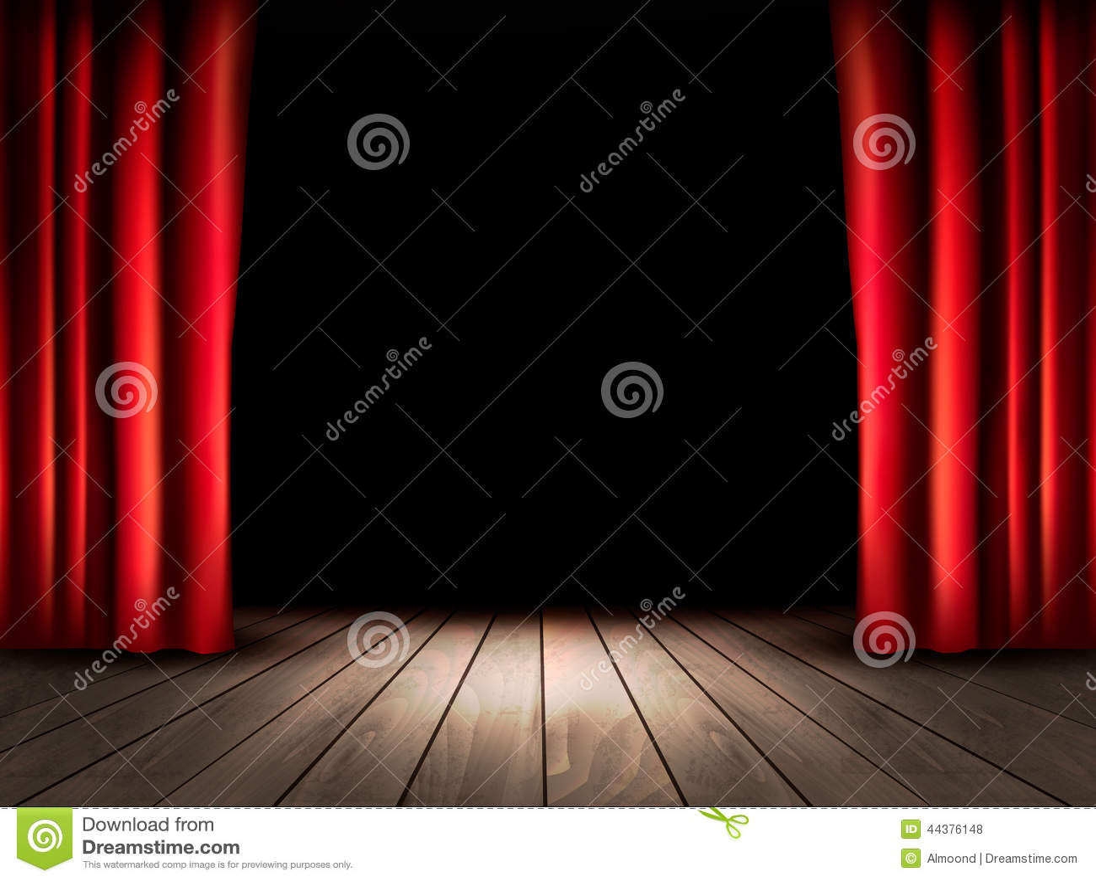 Fase do teatro com assoalho de madeira e as cortinas vermelhas