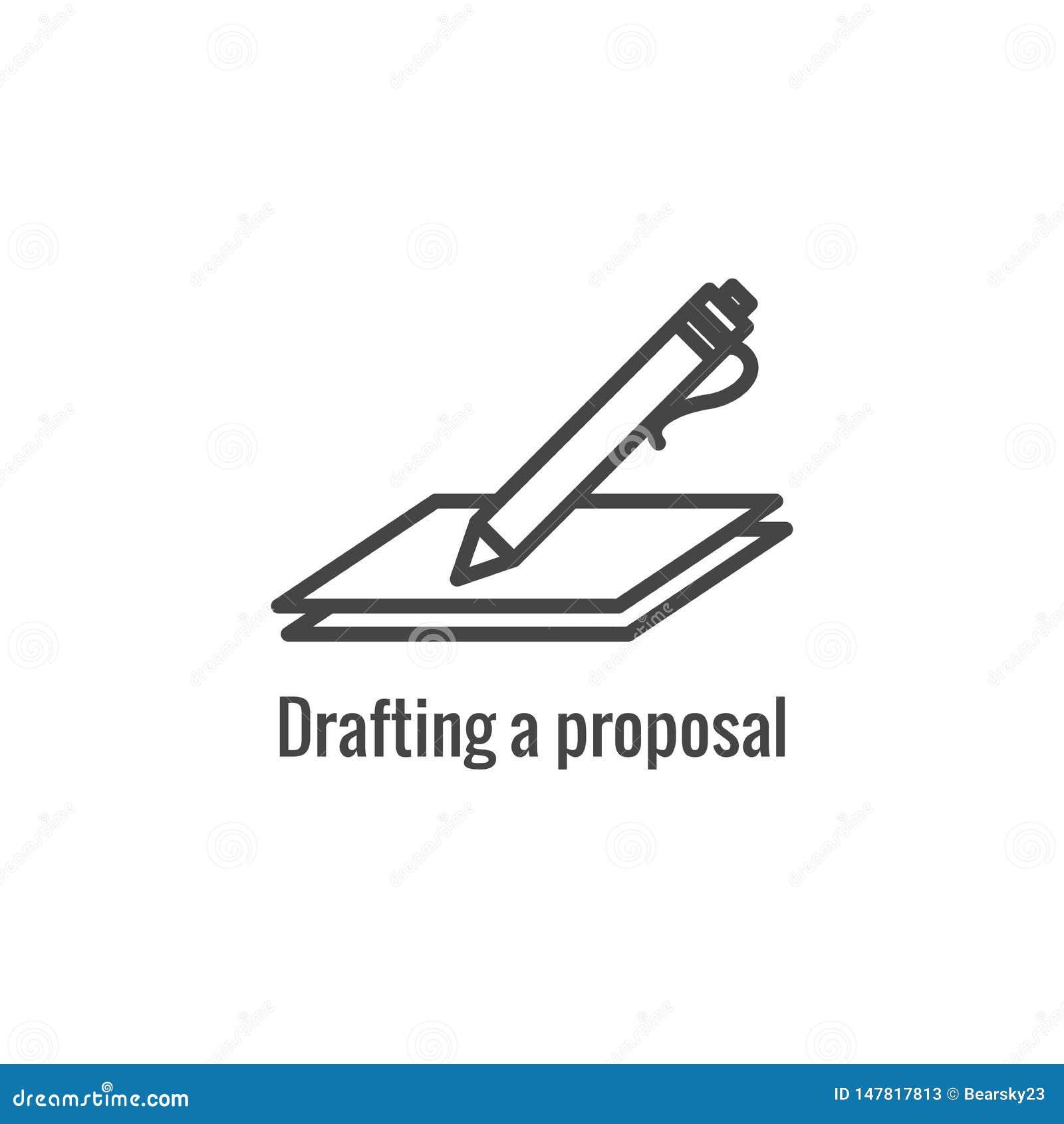 Fase nova do esboço da proposta de w do ícone do processo de negócios