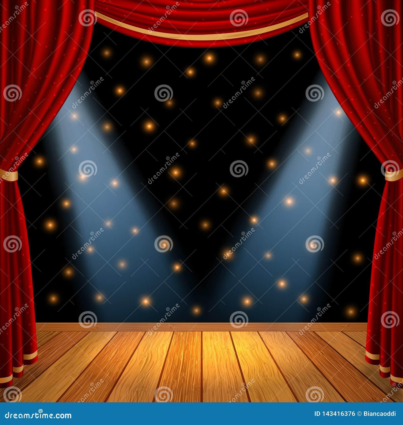 A fase teatral da cena de Mpty com cortinas vermelhas drapeja e assoalho de madeira marrom com projetor dramático no centro