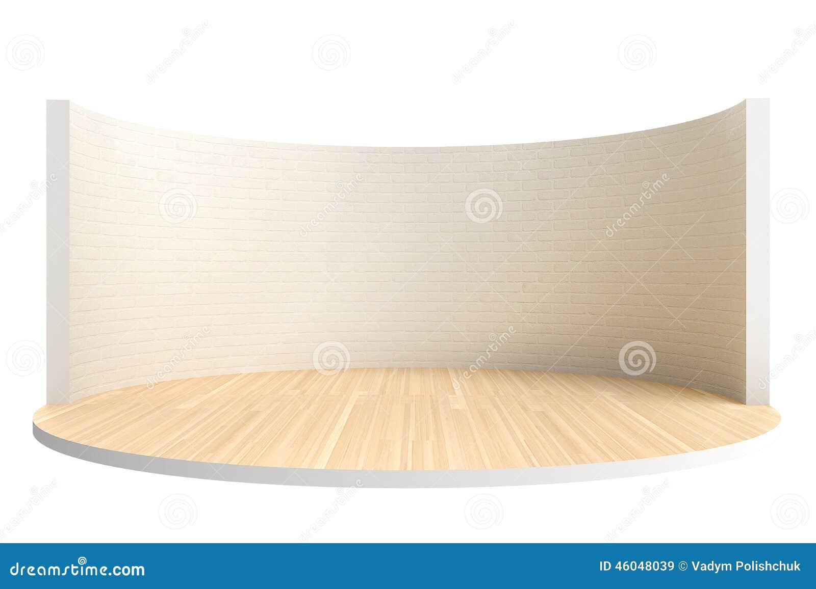 Fase vazia ou sala redonda com assoalho de madeira e a parede de tijolo branca
