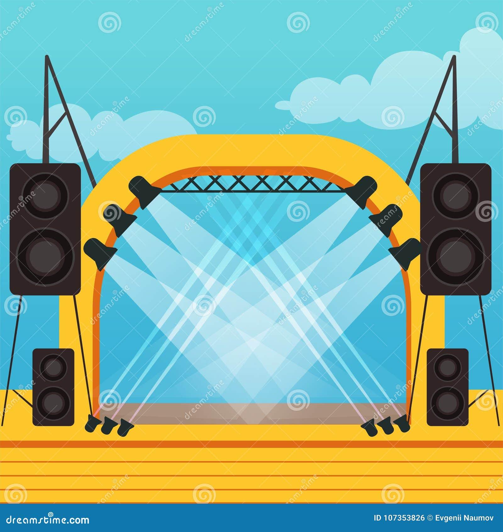 Fase vazia para o festival do ar livre ou o concerto da música outdoor