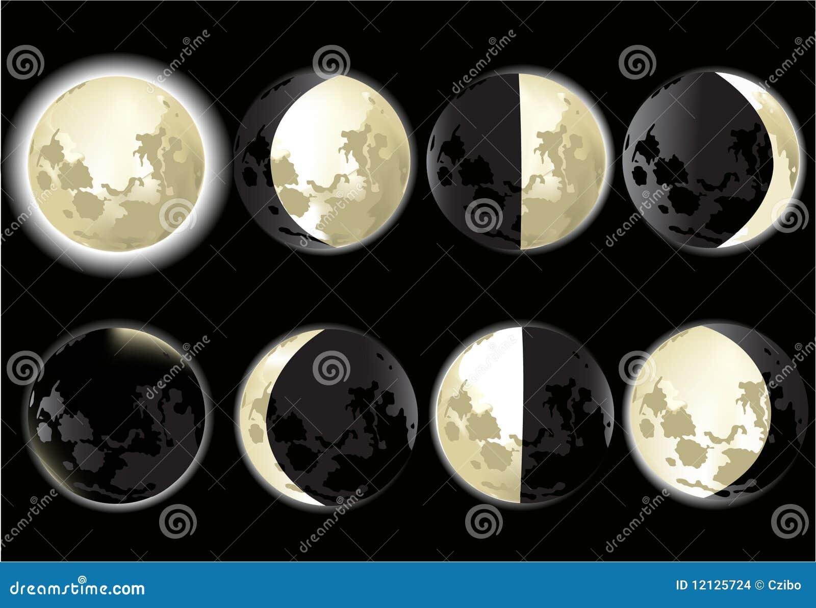 Fases De La Luna Imagenes de archivo - Imagen: 12125724