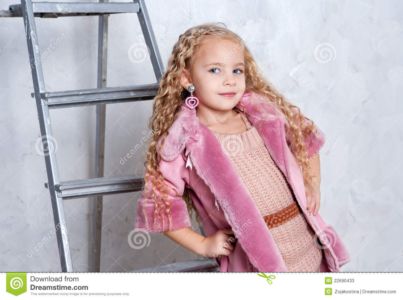 Fashio Child In Pink Dress And Fur Coat Stock Image ...
