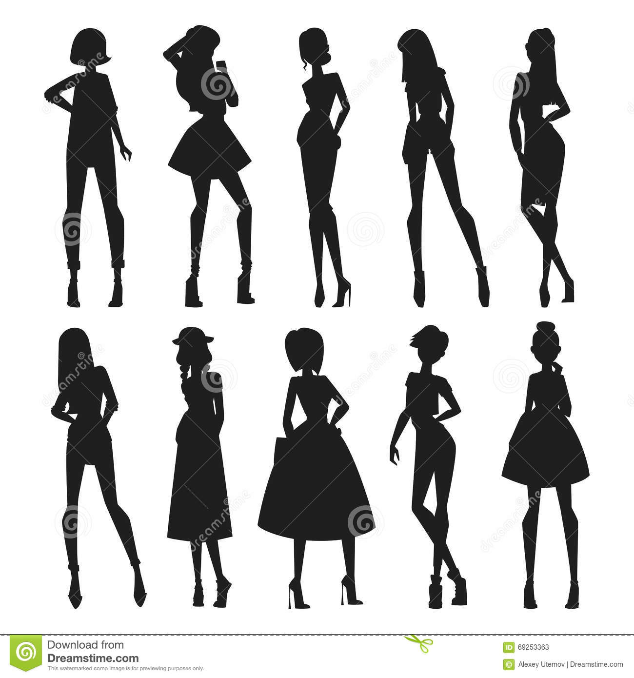 Fashion Abstract Vector Girls Looks Black Silhouette Stock
